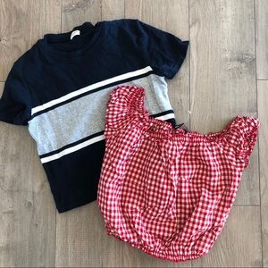 Brandy Melville T-shirt & checkered top 2 pieces